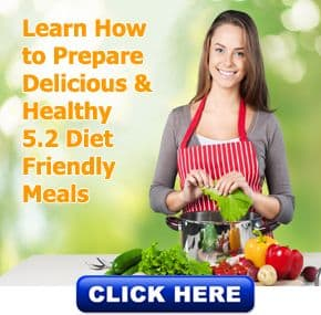 Young girl cooking with 5.2 diet low calorie recipe book